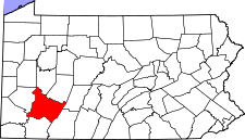 Pennsylvania Map showing Westmoreland County