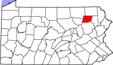 Pennsylvania Map showing Wyoming County