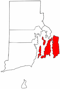 Rhode Island Map showing Newport County