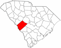 South Carolina Map showing Aiken County