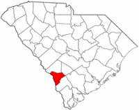 South Carolina Map showing Allendale County