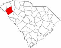 South Carolina Map showing Anderson County