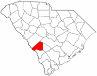 South Carolina Map showing Barnwell County