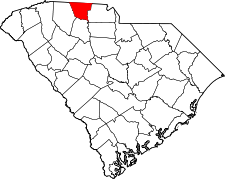 South Carolina Map showing Cherokee County