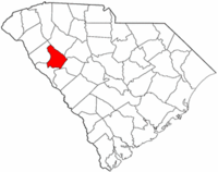 South Carolina Map showing Greenwood County