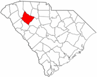 South Carolina Map showing Laurens County
