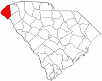 South Carolina Map showing Oconee County