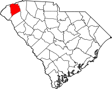 South Carolina Map showing Pickens County