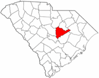 South Carolina Map showing Sumter County