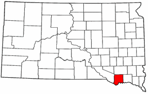 South Dakota Map showing Bon Homme County