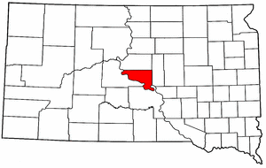South Dakota Map showing Hughes County