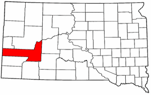South Dakota Map showing Pennington County