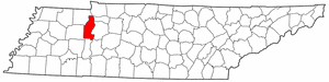 Tennessee Map showing Benton County