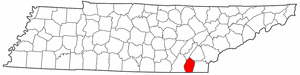 Tennessee Map showing Bradley County