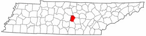 Tennessee Map showing Cannon County