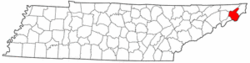 Tennessee Map showing Carter County