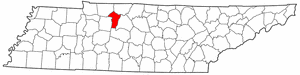Tennessee Map showing Cheatham County