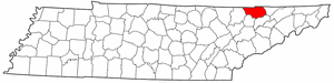 Tennessee Map showing Claiborne County