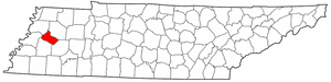 Tennessee Map showing Crockett County