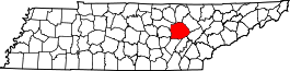 Tennessee Map showing Cumberland County