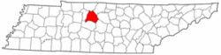 Tennessee Map showing Davidson County