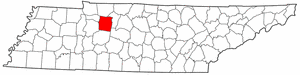 Tennessee Map showing Dickson County