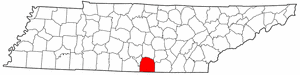 Tennessee Map showing Franklin County
