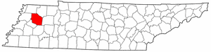 Tennessee Map showing Gibson County