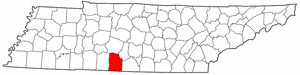 Tennessee Map showing Giles County