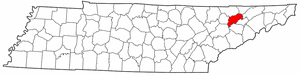 Tennessee Map showing Grainger County