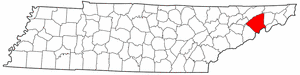 Tennessee Map showing Greene County
