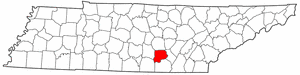 Tennessee Map showing Grundy County