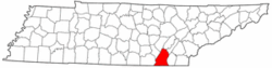 Tennessee Map showing Hamilton County