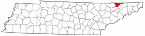 Tennessee Map showing Hancock County