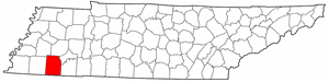 Tennessee Map showing Hardeman County