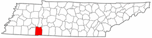 Tennessee Map showing Hardin County