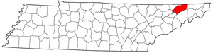 Tennessee Map showing Hawkins County