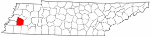 Tennessee Map showing Haywood County