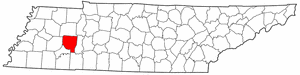 Tennessee Map showing Henderson County