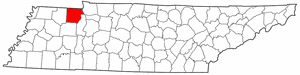 Tennessee Map showing Henry County
