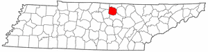 Tennessee Map showing Jackson County