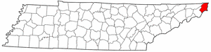 Tennessee Map showing Johnson County