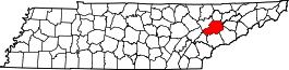 Tennessee Map showing Knox County