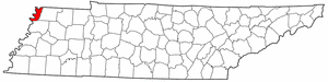 Tennessee Map showing Lake County