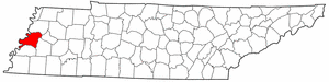 Tennessee Map showing Lauderdale County