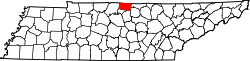 Tennessee Map showing Macon County