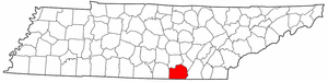 Tennessee Map showing Marion County