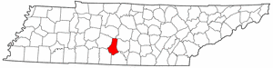 Tennessee Map showing Marshall County