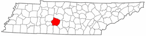 Tennessee Map showing Maury County