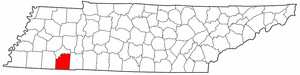 Tennessee Map showing McNairy County